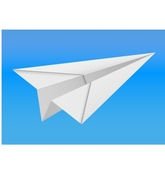 origami paper airplane on white background vector image vector image