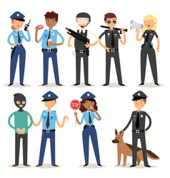Policeman characters funny cartoon man pilice vector