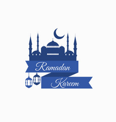 Ramadan kareem ribbon with a mosque vector