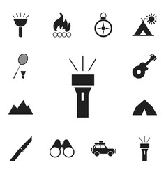 Set of 12 editable travel icons includes symbols vector