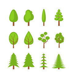 set of trees icons flat vector image vector image