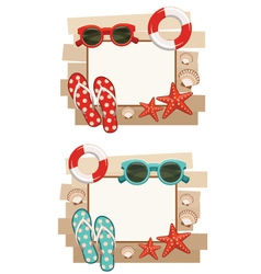 Summer frame with beach symbols vector image