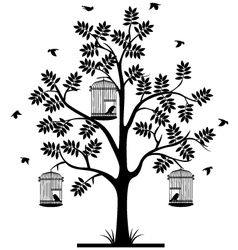 tree silhouette with birds flying vector image