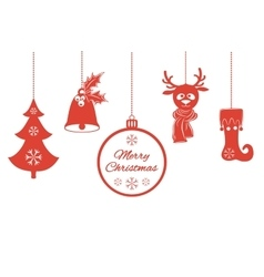 Various Christmas pendants such as a bell with vector image