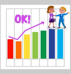 women teamwork with good bar chart vector image vector image