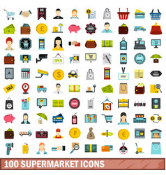 100 supermarket icons set flat style vector image vector image