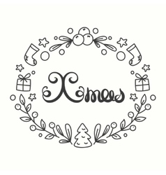 Xmas card winter holiday typography handdrawn vector