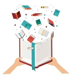 Hand with open book design vector