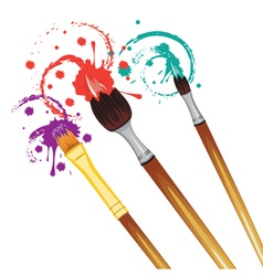 Artist brushes with paint7 vector