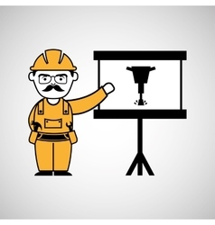 Construction man jackhammer icon graphic vector