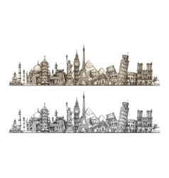 Travel famous monuments of world sketch vector