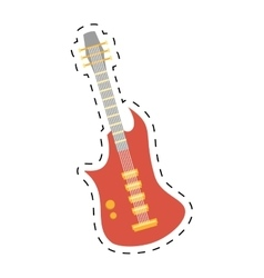 Electric guitar bass instrument icon dotted line vector