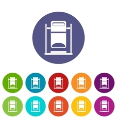 Swinging trashcan set icons vector