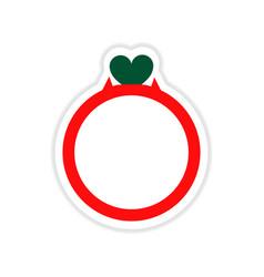 Paper sticker on white background wedding ring vector