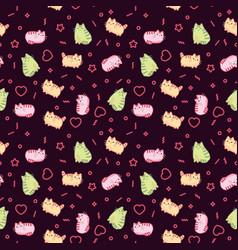 animal print pattern cute kawaii style cat kitten vector image