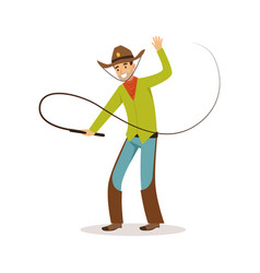 man in american traditional costume with whip vector image