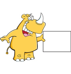 Cartoon rhino with a sign vector