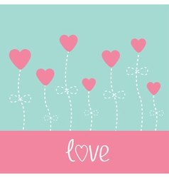 love card Heart flowers Blue and pink vector image