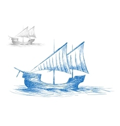 Sketch of old medieval sailing ship vector