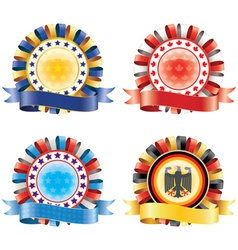 Award ribbon rosettes national flag colors vector