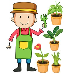 Gardener and potted plants vector