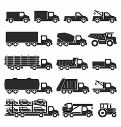 Trucks icons set vector image
