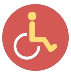 Disabled person flat round icon vector