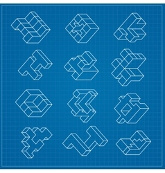 abstract three-dimensional cube vector image