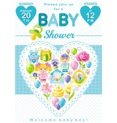 Baby shower invitation design in blue color for vector