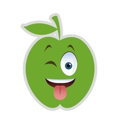 Wink tongue out apple cartoon icon vector