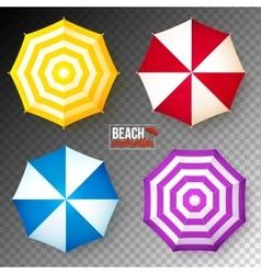 Set of colorful beach umbrellas on dark vector
