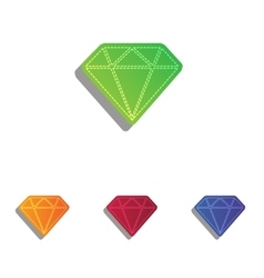 Diamond sign  colorfull applique vector