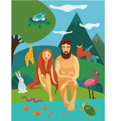 Adam and eva in eden garden vector