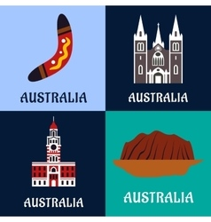 Australian ladscape and architecture flat icons vector image vector image
