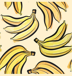 Banana watercolor seamless pattern juicy fruits vector