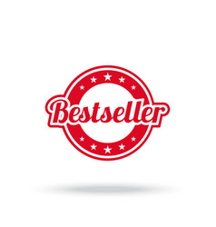 best seller label red color isolated on white vector image