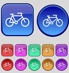 Bike icon sign a set of twelve vintage buttons for vector