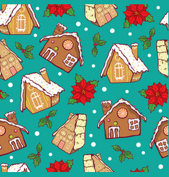 Blue and brown gingerbread houses and vector