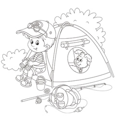 Boy scout with a camping tent vector