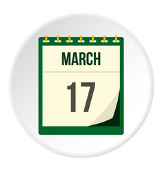 Calendar with st patrick day date icon circle vector