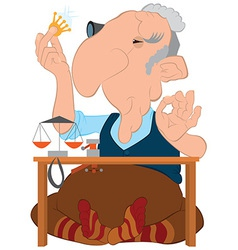 Cartoon old jeweler looking on the diamond in his vector image
