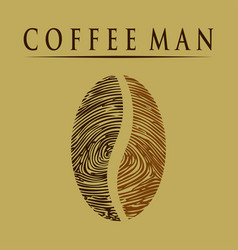 coffee man-fingerprint vector image vector image