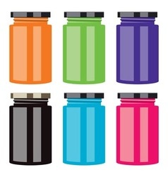 colorful jam jars vector image
