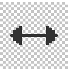 Dumbbell weights sign dark gray icon on vector