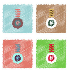 Flat icon design collection wheel and spring in vector
