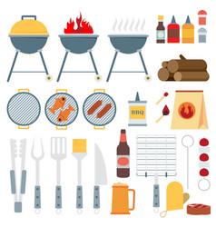 Flat set of barbecue tools vector