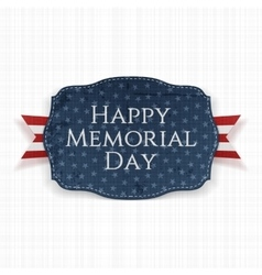 Happy memorial day festive sign and ribbon vector