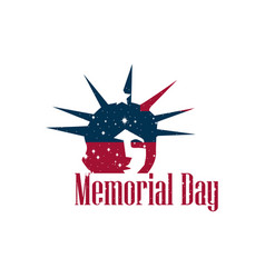 Memorial day statue of liberty on a white vector