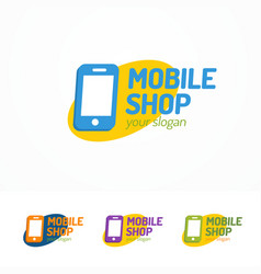 Mobile shop logo set with silhouette phone vector