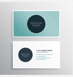 Modern business card template with blue pattern vector